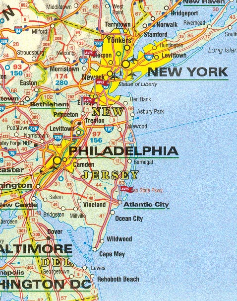 De New Jersey Y New York - Mapa de new jersey
