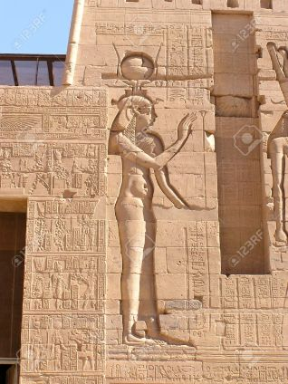 Hathor, Lady of heaven, sun-goddess, moon-goddess woman with the head of a cow -Philae temple, Egypt, Africa
